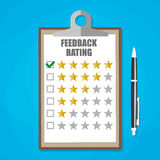 Clipboard with five stars feedback rating Stock Photography