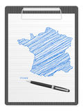 Clipboard France map Stock Image