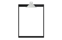 Clipboard, front view. Copy Space Stock Photo