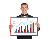 Clipboard with graph Stock Photo