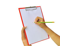 Clipboard in hands Stock Photos