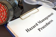 Clipboard with Hazard Management Procedures documents. Clipboard with Hazard Management Procedures documents on the desk stock images