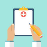 Clipboard in his hand doctor. Doctor takes notes in a Clipboard. Clipboard, hand, pen. Medical report, medical background. Vector, flat design. Patient care Stock Photography