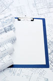 Clipboard on the house project Royalty Free Stock Photos