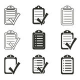 Clipboard icon set. Clipboard vector icons set. Black illustration isolated on white background for graphic and web design Stock Illustration