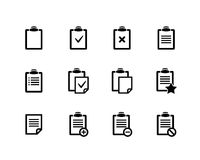 Clipboard icons. Vector black Clipboard icons on white background Stock Photos