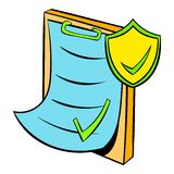 Clipboard with insurance form icon cartoon Royalty Free Stock Photos