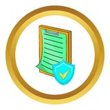 Clipboard with insurance form vector icon. In golden circle, cartoon style isolated on white background Royalty Free Stock Images