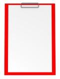 clipboard isolerad röd white Fotografering för Bildbyråer