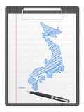 Clipboard Japan map Royalty Free Stock Image
