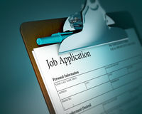 Clipboard with Job Application. Selective focus image of employment form on clipboard with pen Royalty Free Stock Photography