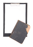 Clipboard and law book Stock Photo