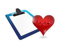 Clipboard and lifeline heart illustration design Stock Images