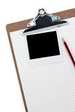 Clipboard,  lined paper and photo Royalty Free Stock Photos