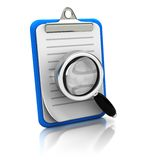Clipboard with magnifier glass. Isolated on white background Royalty Free Stock Photo