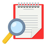 Clipboard and Magnifying Glass Flat Icon Royalty Free Stock Images