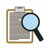 Clipboard with magnifying glass icon image. Illustration Stock Image