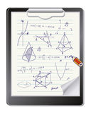 Clipboard with mathematics sketches Stock Photo
