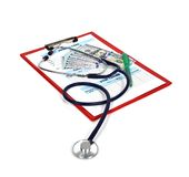 Clipboard with medical form Royalty Free Stock Image