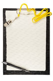 Clipboard. With metal sport whistle, pen and paper sheet Stock Photo