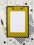 Clipboard mock up for your letterin or art work. Flat lay, top view. Wooden background. stock images