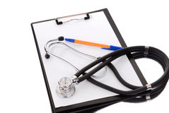 Clipboard with modern stethoscope Royalty Free Stock Photo