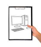 Clipboard- och teckningscompute royaltyfri illustrationer