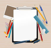 Clipboard and office supplies Stock Images