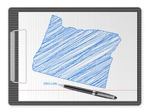 Clipboard Oregon map. Clipboard with drawing Oregon map. Vector illustration Royalty Free Stock Photo