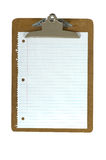 Clipboard and Paper. Office or school clipboard with a white lined piece of spiral notebook paper, space for copy on a white background Stock Images