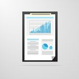 Clipboard paper document graph chart icon vector Royalty Free Stock Photos