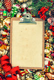 Clipboard with paper for a letter. christmas background retro st Stock Photo