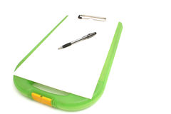 Clipboard, paper & pen angle Stock Image