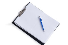 Clipboard with paper and a pen Royalty Free Stock Image