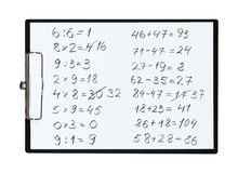 Clipboard and paper sheet with pencil drawing math task,  object Royalty Free Stock Images