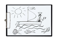 Clipboard and paper sheet with pencil drawing sailboat and sailor,  object Royalty Free Stock Image