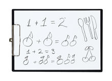 Clipboard and paper sheet with pencil drawing simple math example from fruits,  object Stock Image