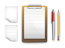 Clipboard, papers, pen and pencil Royalty Free Stock Image