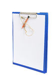 Clipboard with Papers and Pencil Stock Photo