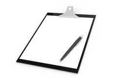Clipboard with Pen. Black and white. Isolated Stock Photo
