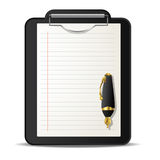 Clipboard and pen. Clipboard and ink pen over white background Stock Images