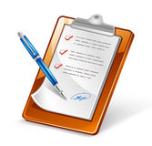 Clipboard with Pen. Vector illustration of clipboard with pen on white background Royalty Free Stock Photo