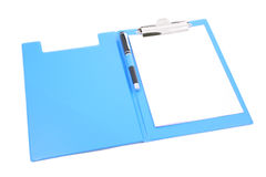 Clipboard with a pen Stock Image