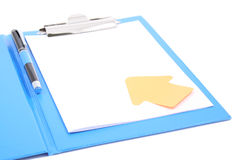 Clipboard with a pen Stock Photography