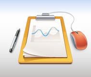 Clipboard with pen and computer mouse Stock Images