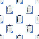 Clipboard and Pen Icon Seamless Pattern Royalty Free Stock Image