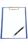 Clipboard and pen Royalty Free Stock Photos