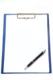 Clipboard and pen Royalty Free Stock Photos