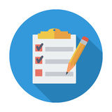 Clipboard with pen. Single flat color icon. Vector illustration Royalty Free Stock Photo