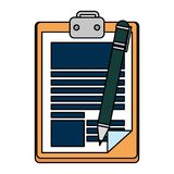 Clipboard with pen writing. Vector illustration design stock illustration